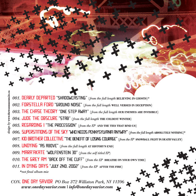 "Lumberjack Distribution | ""One Day Saviour"" Free CD Sampler - Back Cover"