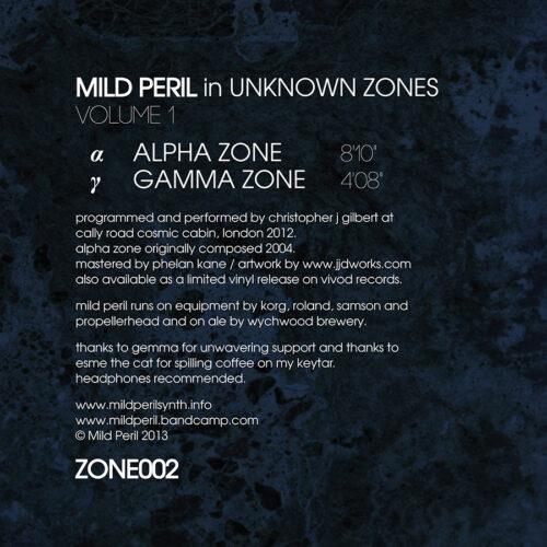"Mild Peril | ""Unknown Zones"" - Back Cover"