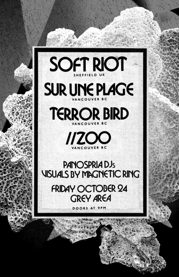 Poster | 24 Oct 2014, Vancouver, Grey Area | Soft Riot, Sur Une Plage, Terrorbird, //Zoo