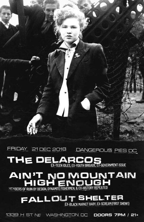 Poster | 21 Dec 2018, Washington DC, Dangerous Pies DC | The Delarcos, Ain't No Mountain High Enough, Fallout Shelter